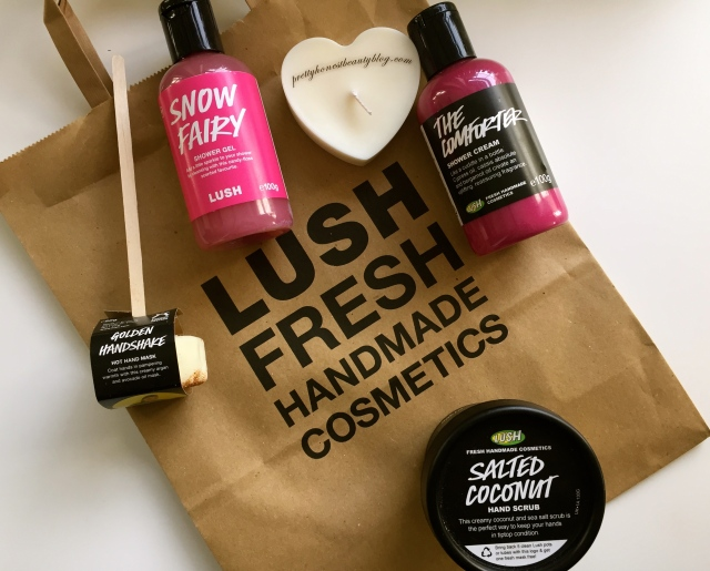 Lush Haul 2015 The Comforter Body Wash Snow Fairy Body Wash, Golden Hand Shake Hand Mask Salted Coconut Hand scrub review