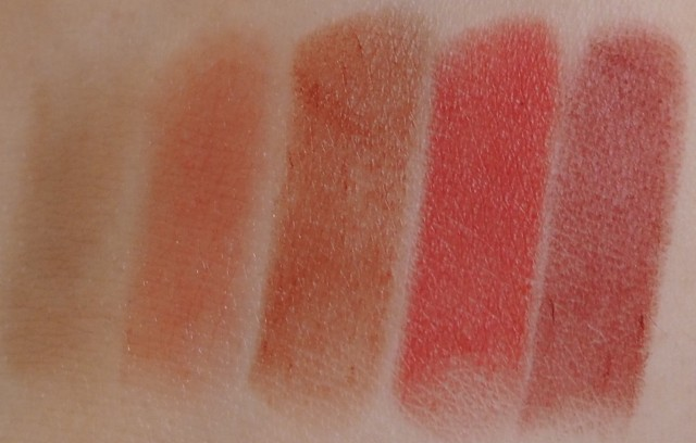 NARS Steven Klein Lipstick Coffret Set Fire Down Below, Mayflower, Little Darling, Joyous Red, Jungle Red Review Swatch