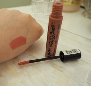 NYX Liquid Suede Cream Lipstick in shade Tea & Cookies Review & Swatch