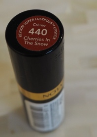 Revlon cherries in the snow lipstick review Swatch